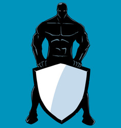Superhero holding shield no cape silhouette vector