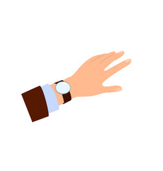 The hand of men looking at watch time for lunch vector