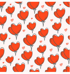 Valentines day seamless pattern with red balloons vector