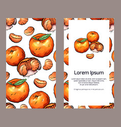 Vertical double sided banners with tangerines an vector