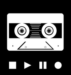 Vintage music tape cassette white silhouette and vector