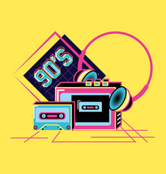 Walkman with headphones and cassette of nineties vector