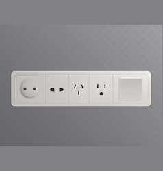 wall-mounted outlet with various sockets 3d vector image