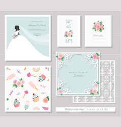 Wedding templates set elegant cutout envelope vector