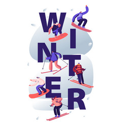 winter sports activity concept young people vector image