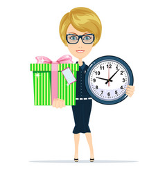 Woman holding a gift box and clock vector