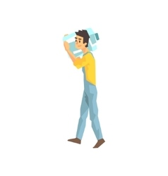 Worker Carrying Large Bottle Of Water For The vector image