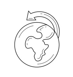 world globe and arrow line icon vector image