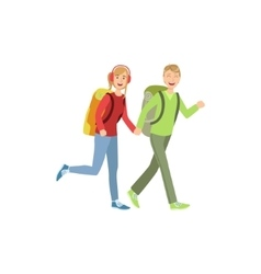 Young Couple Hiking Holding Hands vector image
