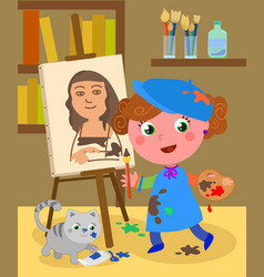 young painter studio vector image