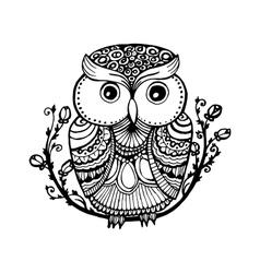 zentangle style owl isolated vector image