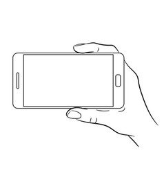 Hand holding a smart phone on white background vector