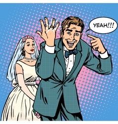 Happy bride and groom wedding vector