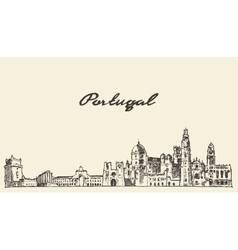 Portugal skyline drawn sketch vector image