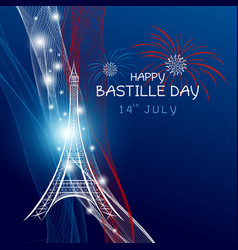 14 july bastille day paris design with firework vector image vector image