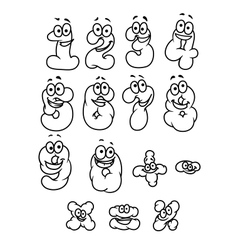 Cartoon digits and numbers set vector image