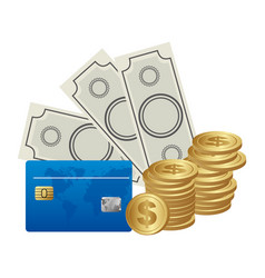 Color background with money bills and coins and vector