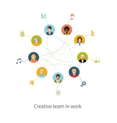 Creative team in work people avatars with signs vector image