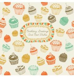 Cupcakes Birthday Card vector image