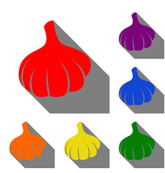 garlic simple sign set of red orange yellow vector image