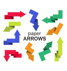 Set of multi-colored paper arrows vector image vector image