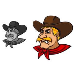 Angry western cowboy mascot vector image vector image