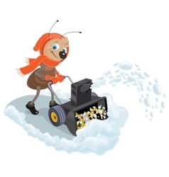 Ant domestic snow-plow snow thrower vector