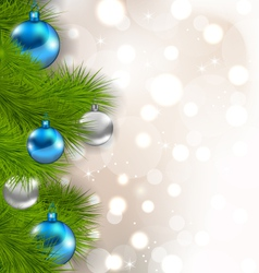 Christmas composition with fir branches and glass vector