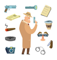 different tools for detective icons in vector image