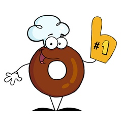 Donut Cartoon Character Number One vector image vector image