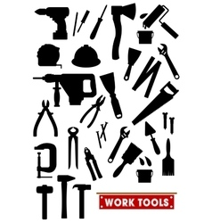 Work tools silhouette icons vector image vector image