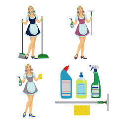 girl maid cleaner vector image vector image