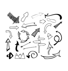 hand drawn sketch doodle arrows set vector image