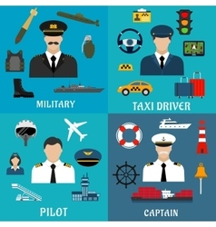 Military captain pilot and taxi driver icons vector image vector image