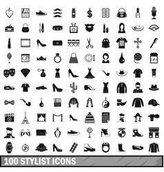 100 stylist icons set simple style vector