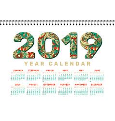2019 desk calendar horizontal a4 white vector