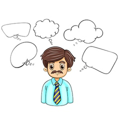 A businessman surrounded with empty callouts vector
