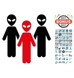 Alien Group Icon with 2017 Year Bonus Pictograms vector image
