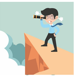 angry businessman with a telescope on mountain vector image