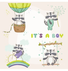 Baby shower card - with racoon vector