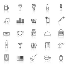 bar line icons with reflect on white background vector image