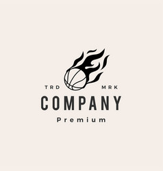 basket ball fire flame hipster vintage logo icon vector image