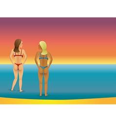 Beach bikini women vector