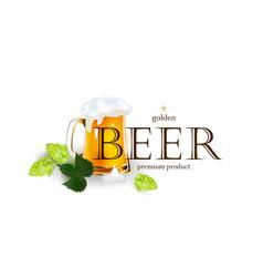 beer emblem logo label design with mug and hops vector image