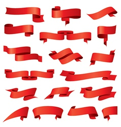 Biggest collection of red ribbons vector