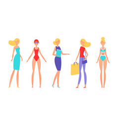 blonde woman in different styles of clothes with vector image