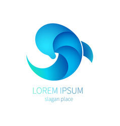Blue dolphin sea icon logo of tourism resort vector