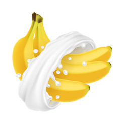 bunch of bananas in milk splash vector image