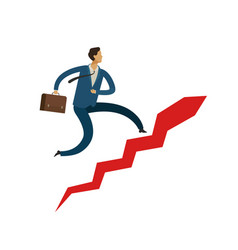 Businessman running up stairway career ladder vector