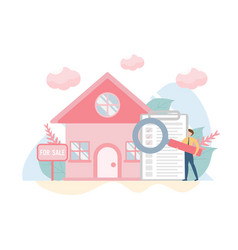 Buying house concept with charactercreative flat vector